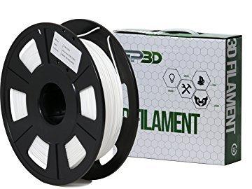 GP3D Flexible 3D Printer Filament White Color - .5KG 1.75mm 1lb. Compatible With 3D Printers Reprap, Makerbot Replicator 2, Makergear M2 and up, Afinia, Solidoodle 2, Printrbot GP3D Supplies
