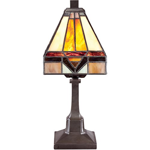 Brass Mission Stained Glass Table Lamp by Torbrook, Vintage Tiffany Desk Lighting, 2-Light 25 Watts, Bronze Patina