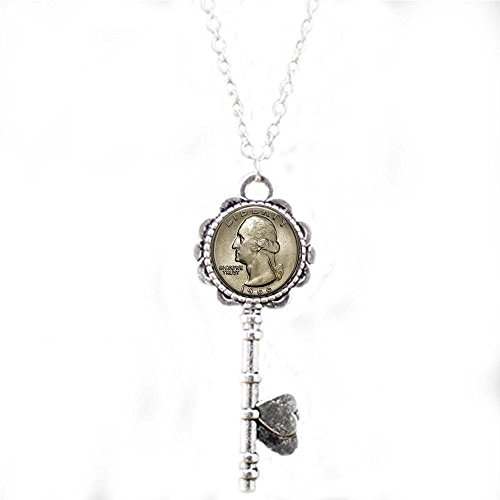 US Quarter Image Coin Jewelry w Your Year - Custom Birthday Gift - US Quarter Dollar - Coin key Necklace - Coin Jewelry - George Washington