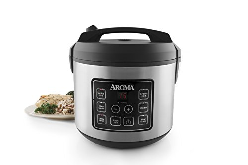Aroma Housewares 20 Cup Cooked (10 cup uncooked) Digital Rice Cooker, Slow Cooker, Food Steamer, SS Exterior (ARC-150SB)