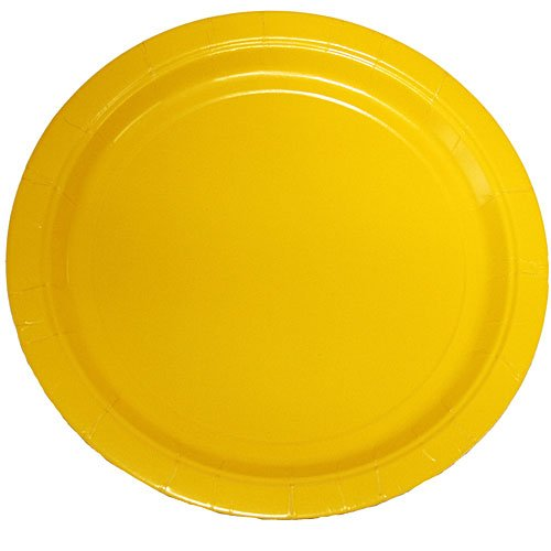 (75-Count Value Pack Paper Dinner Plates, Schoolbus Yellow)