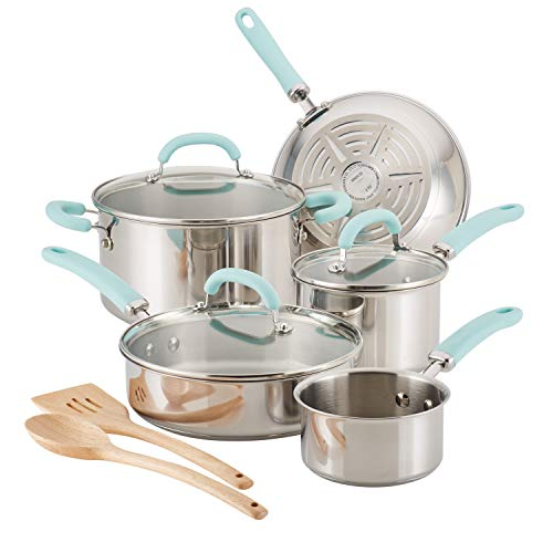 Rachael Ray Create Delicious Stainless Steel Pots and Pans Cookware Set, 10-Piece, Light Blue Handles