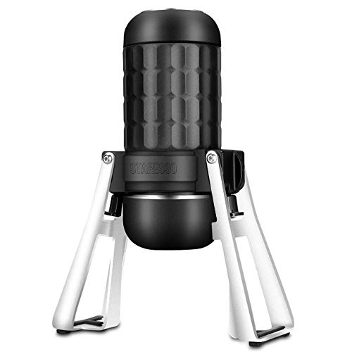STARESSO Portable Espresso Maker – Third Generation Mini Espresso Maker for Two Shots at One Time Upgrade Version Hand Espresso Maker for Rich & Thick Crema with Ground Coffee for Camping & Office