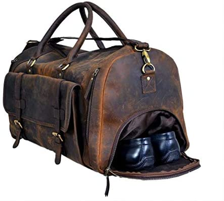 "28"" Large leather Travel Bag Duffel bag Gym sports flight cabin bag Leather Holdall Overnight Weekend Large luggage bag (20 inch)"
