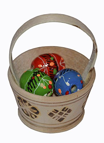 23 wooden hand painted gifted easter basket with 3 eggs pysanky 23 wooden hand painted gifted easter negle Images