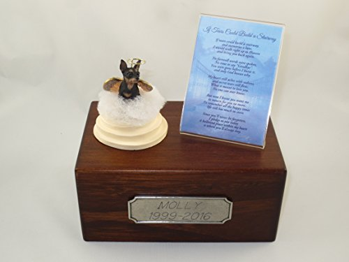 (Conversation Concepts Beautiful Paulownia Small Wooden Urn with Black & Tan Miniature Pinscher Min Pin Stairway to Heaven Figurine with Poem & Personalized Pewter Engraving)