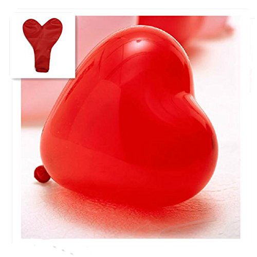 50Pcs Heart-Shaped Latex Balloons Party Holiday Decoration Ballon (Red) (Blue Light Sabre)