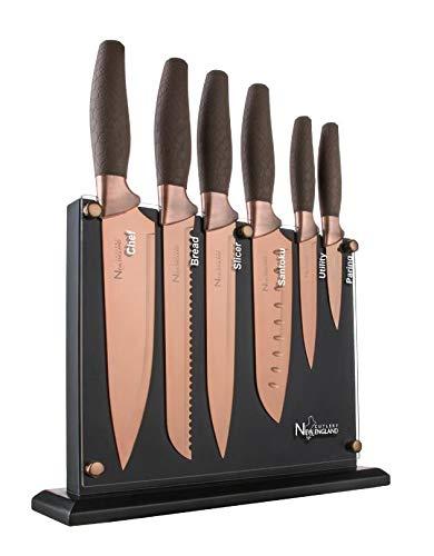 (New England Cutlery NE8807 7 Piece Titanium-Coated Knife Set with Invisible Wood Block, Bronze)