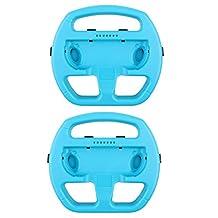 MonkeyJack 2 Pack Manipulate Grip Steering Wheel For Nintendo Switch Controller Blue