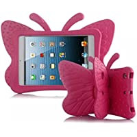Butterfly iPad case, Leebay Non-toxic Light Weight EVA Butterfly Kids-use 3D Cartoon ipad 4 3 2 case, Shockproof Cover with Stand for kids (Rose)