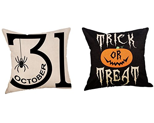 Wakeu Halloween Decorations Pillowcases Zipper Cushion Pillows Cover 18 x 18 inch -2PC Set (01) (Decorations Barn Pottery)