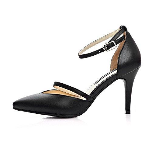 Leather Black Sandals Heels Pointed Stiletto Toe Cow Closed with High Womens AllhqFashion xqCB0SPB
