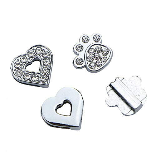 Monrocco 40 pcs Full Rhinestone Heart Charms Silver Slide Charms Letters Fit 8-10mm Belts Wristbands ()