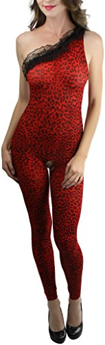 ToBeInStyle Women's One Shoulder Footless Leopard Bodystocking - RED/BLACK -