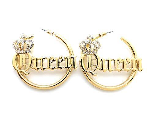Sassy, Sexy, Boss, Mob, Queen Word Statement Bamboo Style 3.0 inches Pincatch Hoop Earring in Gold Tone (Queen/Gold Plain ()