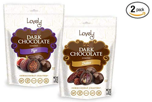 Premium Dark Chocolate Dates & Figs (Combo 2-Pack) - Lovely Candy Co. (2) 6oz Bags - NON-GMO, NO HFCS, Kosher & Gluten-Free | Consciously crafted in the USA! (Chocolate Figs)