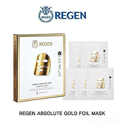 Regen Absolute Gold Foil Mask 27g x 5 Pcs, Korean Facial Mask Sheet, Authentic Cosmetic from Famous Regen Plastic Surgery Center in South - Stores South Center