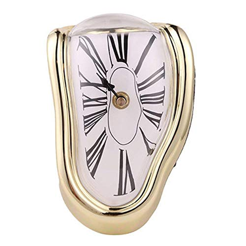 Clock Wall Clock, Creative Retro Home Seat Twist Clock Table Corner Decorative Clock Roman Digital Clock Indoor Living Room Bedroom Decor Quartz Wall Clock (Color : Gold)