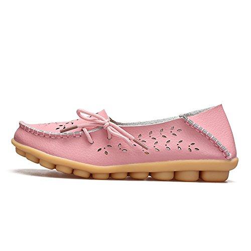 Mocassino Casual Da Donna In Pelle Color Rosa Cara