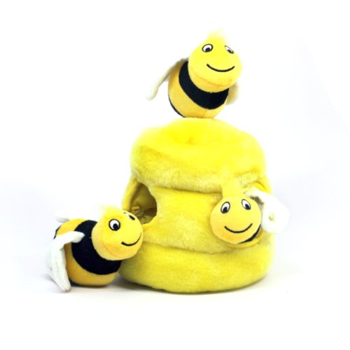 Outward Hound Hide a Bee Fun Hide and Seek Interactive Puzzle Plush Dog Toy by, 4 Piece, Large