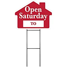 """OPEN SATURDAY Sign Kit with Area for Time - House Shape Corrugated Sign INCLUDES 24"""" Sign Stake"""