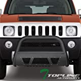 hummer grill - Topline Autopart Matte Black Studded Mesh Bull Bar Brush Push Front Bumper Grill Grille Guard With Skid Plate For 05/06-10 Hummer H3