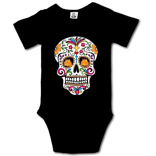 Colorful Floral Mexican Day of The Dead Sugar Skull Baby Boys' Girls' Short Sleeve Onesies Bodysuits