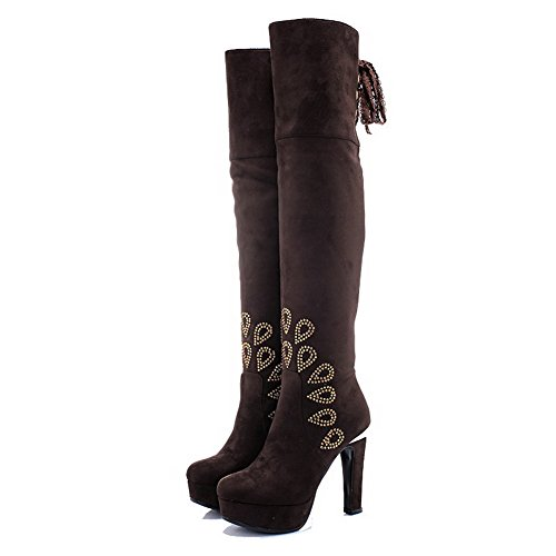 Allhqfashion Women's Lace-up High-Heels Imitated Suede Solid High-top Boots Brown tQDalU