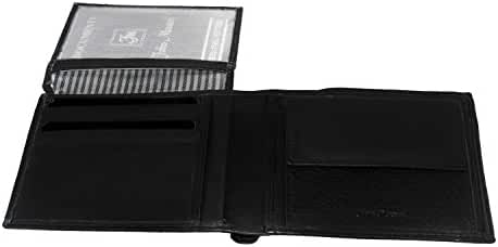 Wallet man FABIO MASSARI black in real leather with flap and coin purse A4383
