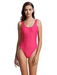 zeraca Women's High Cut One Piece Bathing Suits Swimsuits