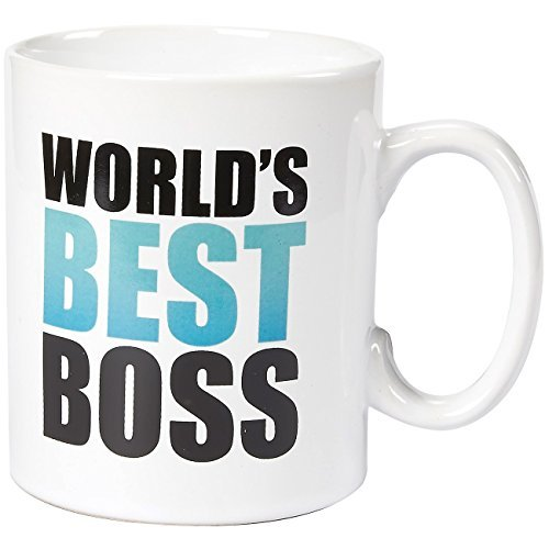 Ceramic Coffee Mug - 16-Ounce Large Novelty Stoneware White Tea Cup - Worlds Best Boss - Office, Home, Birthday Gift