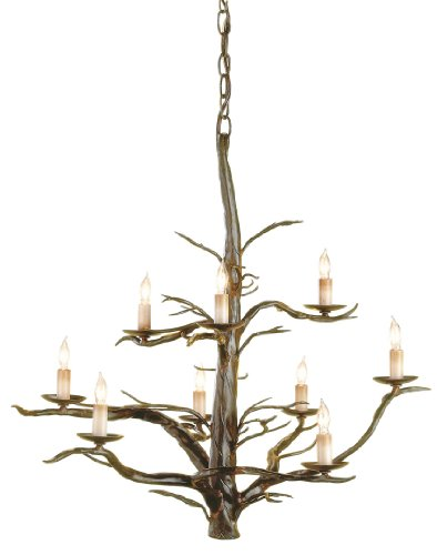Currey and Company 9327 Treetop 9-Light Chandelier, Old Iron Finish