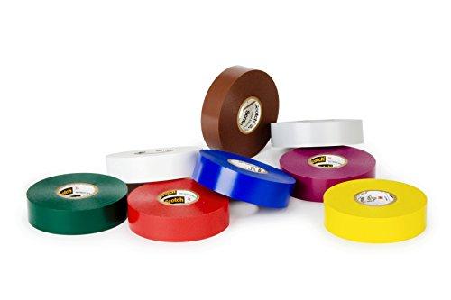 3M 35-Multi-Color-1/2x20FT-8Pk Scotch Vinyl Color Coding Electrical Tape 35, 1/2'' x 20', Multi-color by 3M (Image #1)