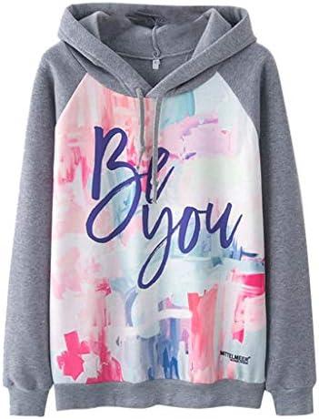 YueLove Frauen Hoodies Sweatshirt Langarm Dye Letter Printed Pockets Grau Sport Pullover Team Club Streetwear Sweatjacke Mit Kordelzug