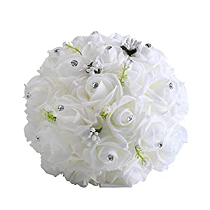 Zebratown 9.5inch White Crystal Pearl Roses Bridal Bridesmaid Wedding Bouquet Artificial Flowers 100