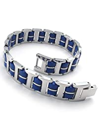 Konov Jewelry Stainless Steel Rubber Links Mens Bracelet, Silver Blue, with Gift Bag, C22094