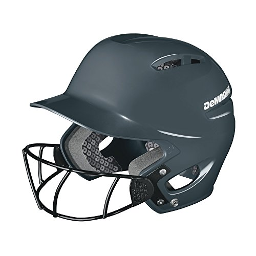 DeMarini Paradox Protege Pro Batting Helmet with Mask Small/Medium (6 3/8-7 1/8), Charcoal, Small/Medium (6 3/8-7 1/8)