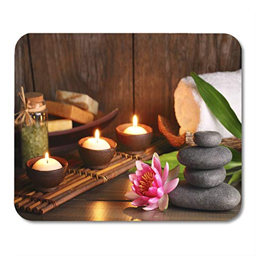 Emvency Mouse Pads Zen Brown Aromatherapy Spa Treatment White Stone Candle Wellness Mouse Pad for notebooks, Desktop Computers mats 9.5