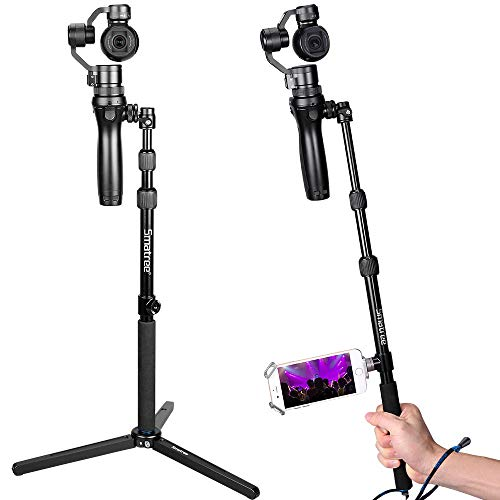 Smatree Selfie Stick Monopod with Tripod Compatible for DJI OSMO,OSMO Mobile,OSMO PRO/RAW,Telescope Pole with Adapter for DJI Phone Clip Holder(DJI Phone ClipHolder Not Included)
