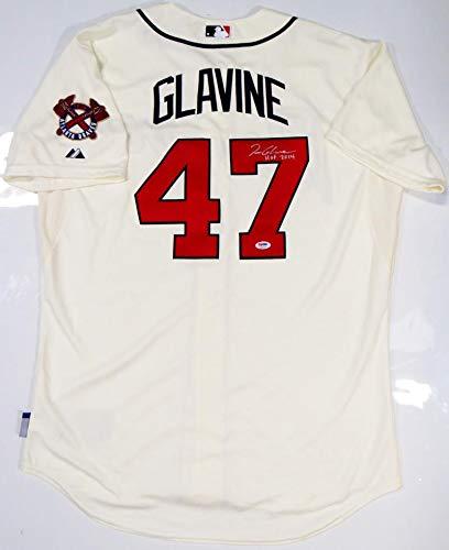 (Tom Glavine Autographed Atlanta Braves Cream Majestic Jersey w/HOF - PSA)