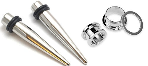 Ear Taper Body Jewelry (Pair of 316l Stainless Steel Tapers and Screw Tunnels Ear Stretching Kit Gauges Plugs 00g 0g 2g 4g 6g 8g 10g 12g (6g))