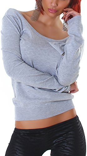 London Gris Uni Femme Longues Jela Gris Manches Pull 806x8Fd