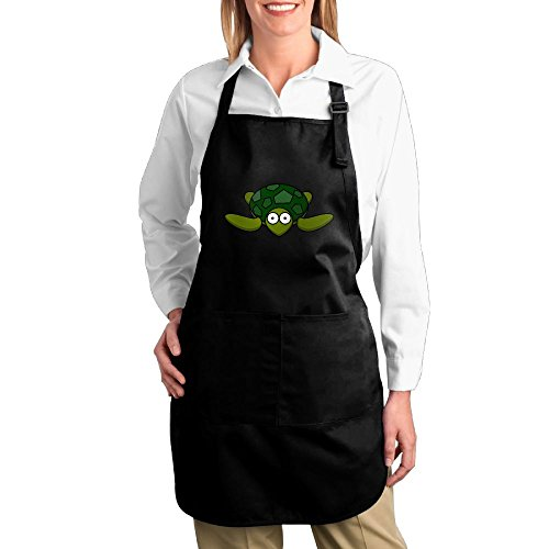 Fat Girl Turtle Costume (Dogquxio Cute Turtle Kitchen Helper Professional Bib Apron With 2 Pockets For Women Men Adults Black)