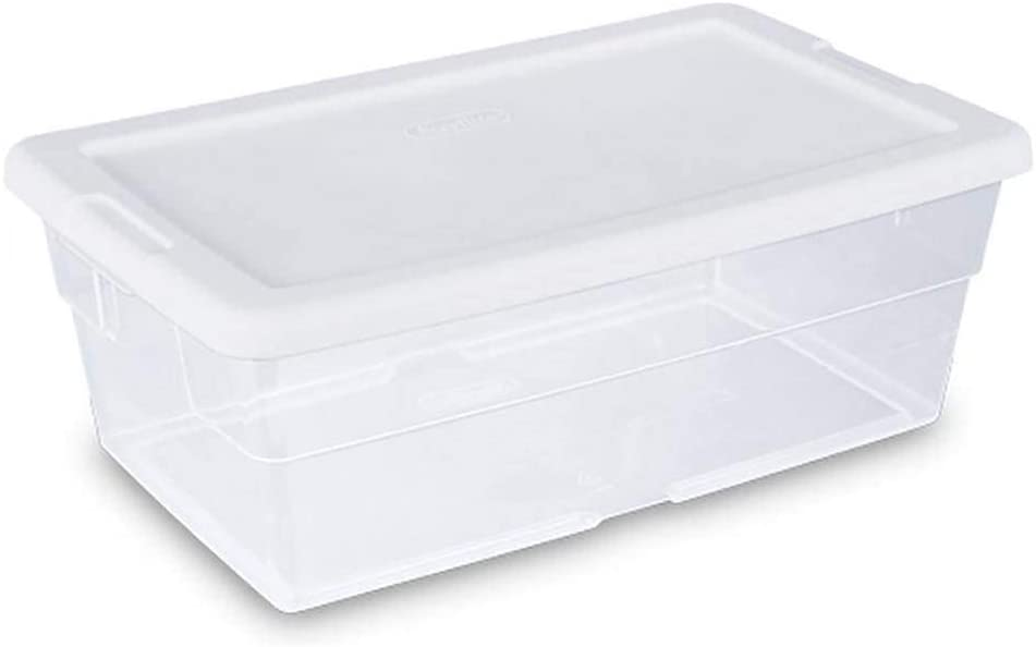 Sterilite 6 Quart Clear Stacking Closet Storage Tote Container with White Lid