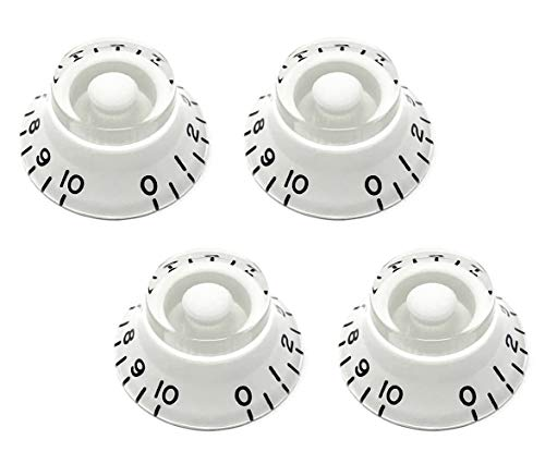 Vintage Forge White Top Hat Bell Knobs for Epiphone Les Paul Import Electric Guitar (Set of 4) Fits 18 Coarse-Spline Alpha (Metric) Split Shaft Pots BK18M-WHT4