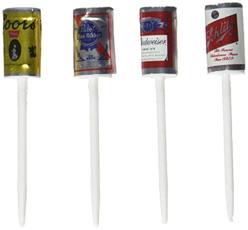 Oasis Supply Mini Beer Cans with Plastic Pick for Cake Decorating, 2.5-Inch