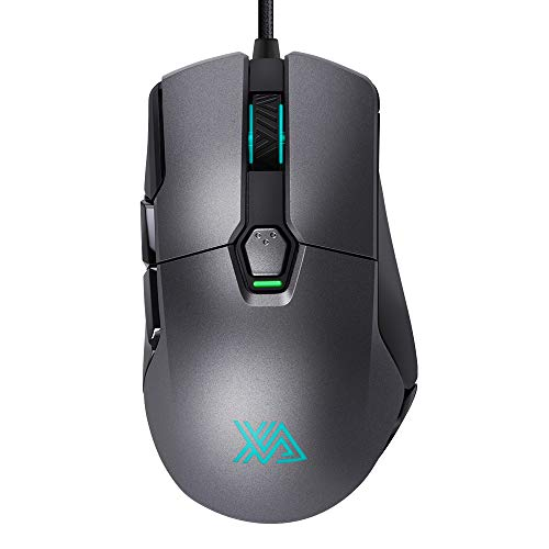 - Xanova Gaming Mouse, 16000 DPI Adjustable High Precision Laser Programmable Ergonomic Wired, RGB Color Backlit Gamer Desktop Laptop PC Gaming Mouse for Windows 7/8/10/XP Vista Linux, Silver Gray