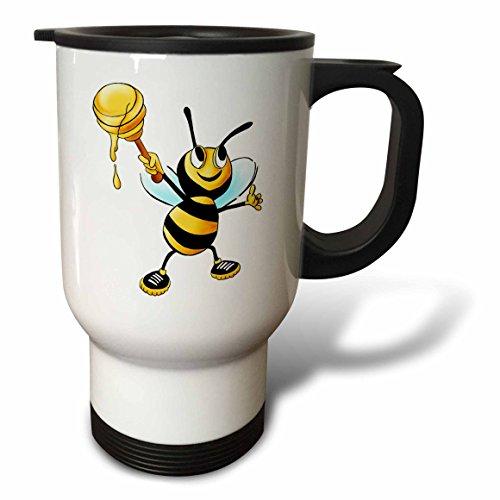 3dRose tm_211701_1 Bumble Bee with Honey Travel Mug, 14 o...