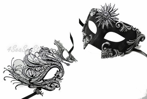 His & Hers Masquerade Couples Venetian Design Masks Sun God & Swan - 2 Piece Colored Set - Perfect Couple Mardi Gras Majestic Party Halloween Ball Prom by QJ