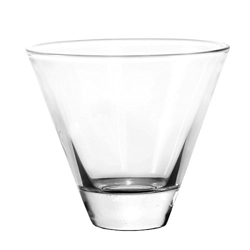 Stemless cocktail glasses 6-piece set - 8 ounce short martini glass set - elegant versatile glass tumblers - bowls for appetizers desserts - great multipurpose present - party cups serving dish (Stemless Glasses Cosmo)